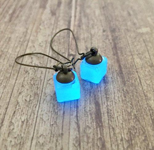 Loki's Tesseract Inspired Blue Glow In The Dark Cube Drop Dangle Earrings Thor, Tom Hiddleston, Trickster, Asgard Jewelry