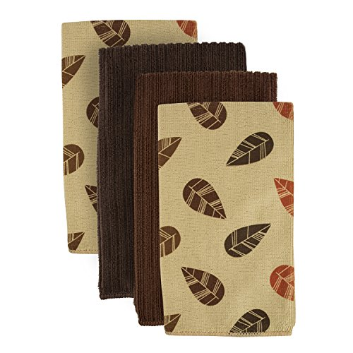 DII Microfiber Cleaning Towels Perfect for Kitchens, Dishes, Car, Dusting, Drying Rags, 16 x 19, Set of 4 - Taupe Leaves
