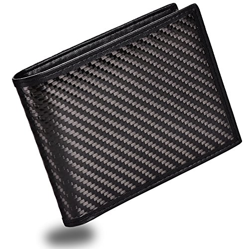 Carbon Ray Fiber - Men's Bifold Trifold Wallet RFID Blocking Genuine Leather Slim Travel Wallet