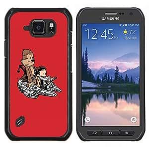 Cubierta protectora del caso de Shell Plástico || Samsung Galaxy S6 Active G890A || Divertido Mono lindo Nave Espacial @XPTECH