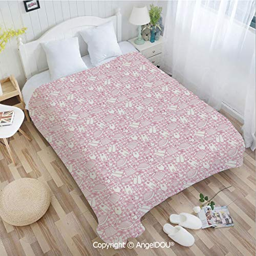 AngelDOU Sofa Blanket air Conditioner Blanket W31 xL47 Newborn Girl Clothes with Checkered Background Hearts Stars Flowers Dresses and Hats for Car Bedroom Home Decorative.