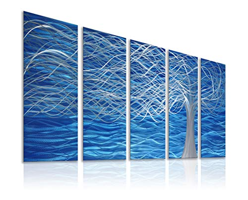 Unique Metal Wall Sculpture, Metal Wall Art with Tree Painting Design, Abstract Modern and Contemporary Décor, Aluminum Blue Artwork, Indoor and Outdoor Decoration, 5 Panels 64