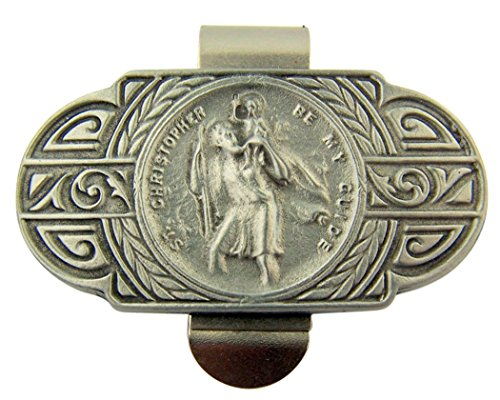 Pewter Saint Christopher Be My Guide Modern Style Visor Clip, 2 1/4 Inch