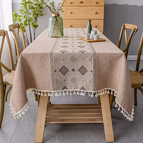 Sun & Moon Rectangle Tablecloth Linen Cotton Jacquard Embroidery Fringe Design Decorative Table Cover,Brown,140300cm(55118in) ()