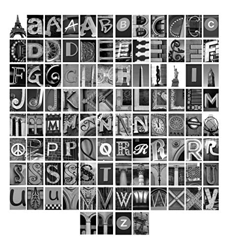 Fine Art pacakge with 100 Custom Alphabet Letters - Classic Collection Black and White