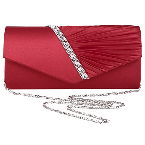 Party Ruffle Prom LY6682 R Bag Envelope Bridal Diamond Clutch Evening red Ladies SODIAL red qTSIpq