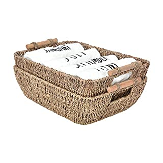 """StorageWorks Hand-Woven Large Storage Baskets with Wooden Handles, Seagrass Wicker Baskets for Organizing, 15"""" x 10.6"""" x 5.3"""", 2-Pack"""