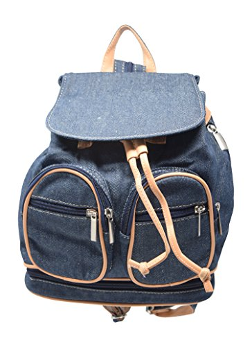 Apple Bottoms Denim Jeans (Retro Denim Canvas and Vegan Leather Small Casual Backpack Purse Bag)