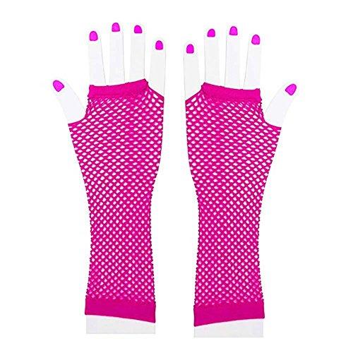 Auranso 80s Disco Dance Party Costume Women Long Fishnet Mesh Fingerless Gloves ()