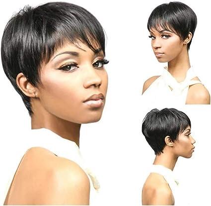 Moda africana corta pelucas mujer pelo corto Fibra resistente ...