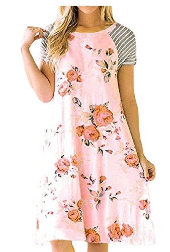 shirt Rosa T Una Estivi Manica Delle Donne Abiti Prendisole Linea Jaycargogo Midi Breve Da Della Di Spiaggia Stampa TxaHH