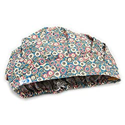 GUOER Women's Bouffant Scrub Cap Printed Allovers Blue