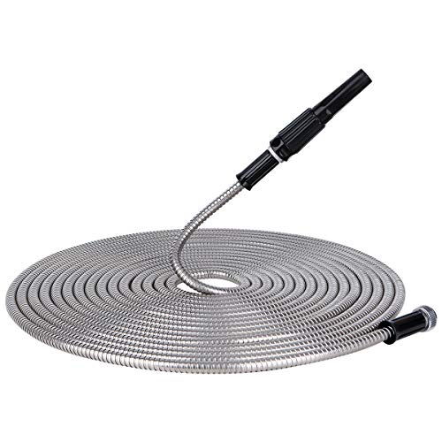 Give Me 50FT Metal Garden Hose, 304 Stainless Steel Water Hose with Free Nozzle and Solid Metal Fittings, Flexible, Kink Free, Lightweight and Durable