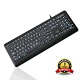 Tanix Large Print Computer USB White LED Backlit Keyboard with Oversized Letters for Visually Impaired Low Vision Individuals