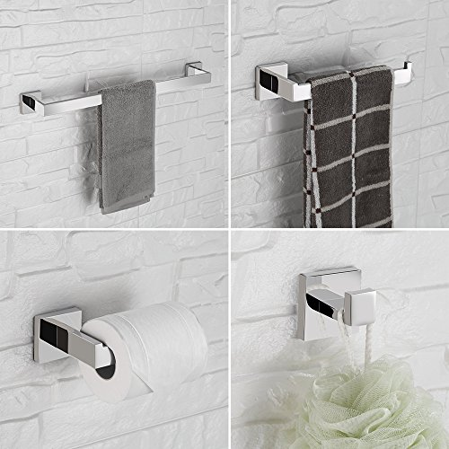 LuckIn Towel Bar Sets Stainles Steel, 4pcs Bathroom Hardware Set Wall Mounted Bath Accessory Sets Complete with 24 Inch Towel Bar Rod, Toilet Paper Holder, Towel Ring, Robe Hook by LuckIn (Image #1)