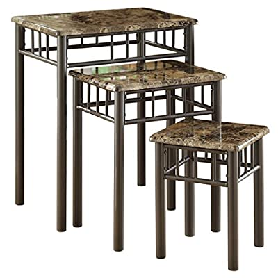 Monarch Specialties Bronze Metal Nesting Table Set with Cappuccino Marble Top, 3-Piece