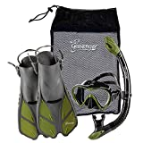 Seavenger Diving Dry Top Snorkel Set with Trek Fin, Single Lens Mask and Gear Bag, XS/XXS - Size 1 to 4 or Children 10-13, Gray/Black Silicon/Green
