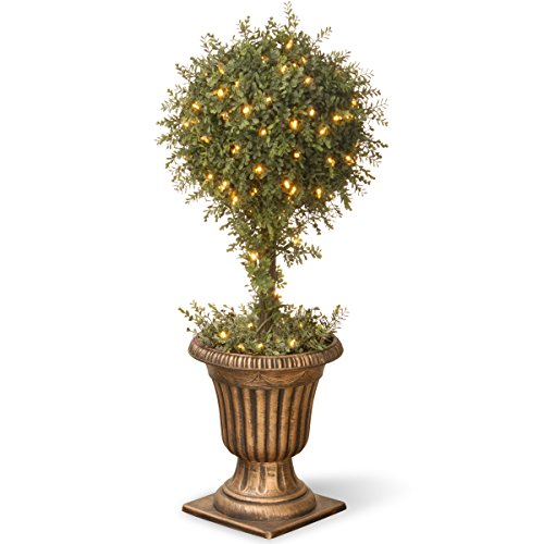 One Light Urn - National Tree 36 Inch Mini Tea Leaf One Ball Topiary with 100 Clear Lights in Gold Urn (LTLM4-304-36)