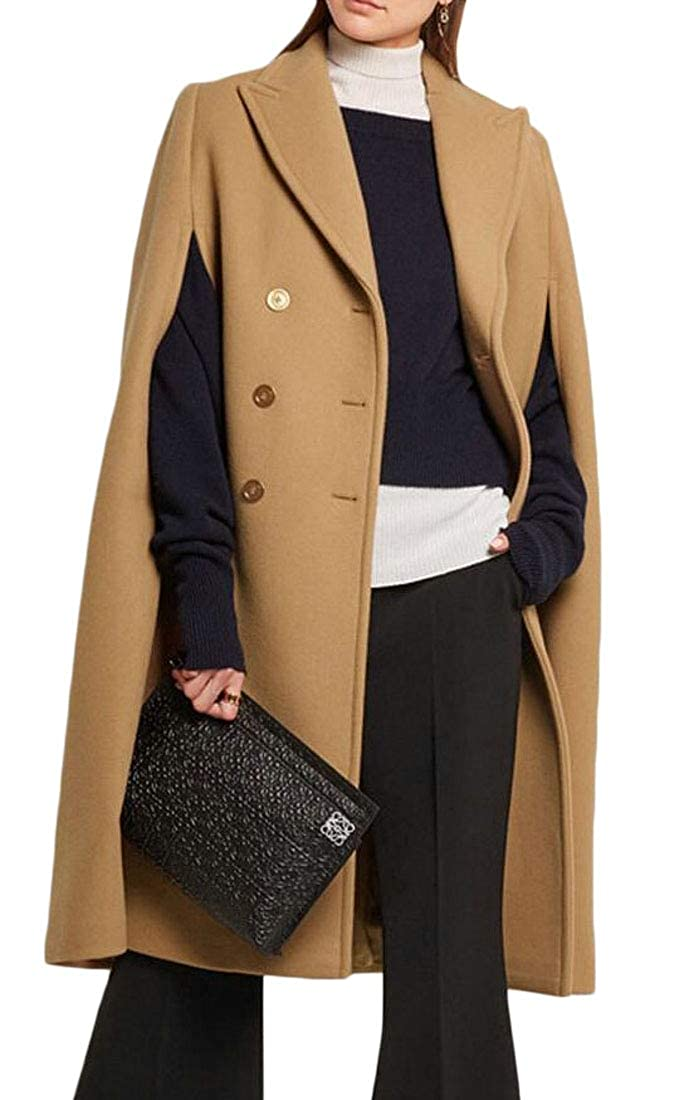 Camel Esast Women Winter Lapel Double Breasted Woolen Poncho Trench Pea Coats