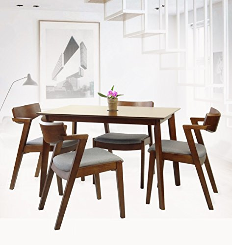 Rattan Wicker Furniture Set of 5 Dining Kitchen Rectangular Table and 4 Tracy Armchairs Solid Wood w/Padded Seat Medium Brown Finish