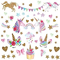 Unicorn Wall Decal,66pcs Unicorn Wall Decor Stickers Decals for Kids Rooms Gifts for Girls Boys Bedroom Nursery Home Party Favors