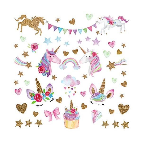Unicorn Wall Decal,66pcs Unicorn Wall Decor Stickers Decals for Kids Rooms Gifts for Girls Boys Bedroom Nursery Home Party Favors 3