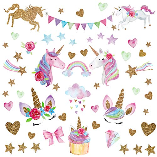 (Unicorn Wall Decal,66pcs Unicorn Wall Decor Stickers Decals for Kids Rooms Gifts for Girls Boys Bedroom Nursery Home Party Favors )