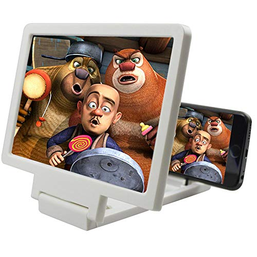 Volwco 3D HD Screen Magnifier,2019 Upgra Cell Phone Enlarger Screen Video Movie Amplifier Holder Stand with Wood Grain Anti-Radiation Flexible Expander Stand Holder for All Smart Phones