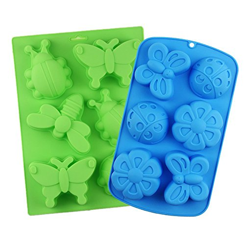 Cocoboo 2pcs 6 Cavity Assorted Insect Butterfly Silicone DIY Soap Mold Handmade Molds