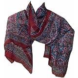 Pañuelo seda rojo burdeos 170x50cm estilo cachemira paisley fular accesorio  India d58482ef504