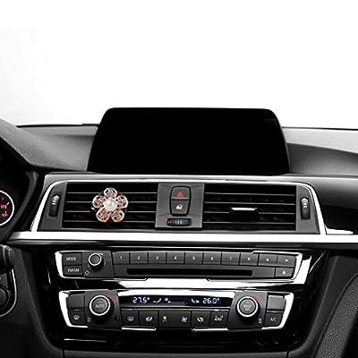 MINI-FACTORY Car Bling Interior Accessories, Car Air Vent Rhinestone Diamond Decoration - Gold Flowers (4 Piece): Automotive