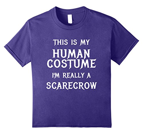 Kids I'm Really a Scarecrow Costume Halloween Shirt Women Men Kid 8 Purple