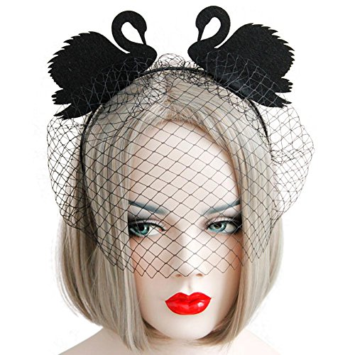 Auranso Black Swan Bride Gothic Fancy Dress Crown Costume Party Ears Decor Black Lace Mesh Dot Mask Headband Halloween Gift Hair Band Crown Swan