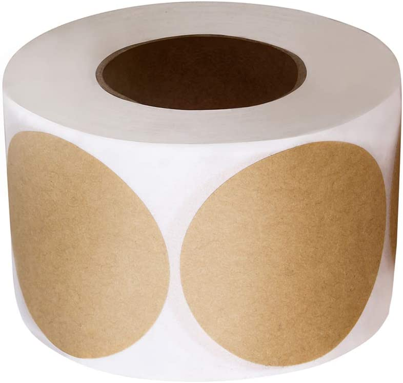 2 Inch Natural Brown Kraft Stickers with Permanent Adhesive/Round Blank 500 Labels per Roll for Store Owners, Crafts, Organizing, Jar and Canning Labels, Price Tags, Clearance Sales
