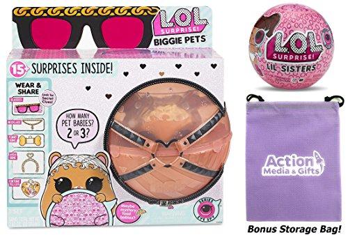 Lol Surprise Biggie Pets Bundle Includes  1  Mc Hammy    1  Eye Spy Lil Sister Doll   Bonus Action Media Storage Bag