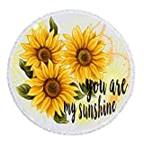 NIDITW Unique Gift Rustic Countryside Vivid Sunflower With Sweet Quote You Are My Sunshine Microfiber Soft Large Round Roundie Beach Towel Tapestry Throw Blanket Picnic Tapestry Table Cover 60 Inches