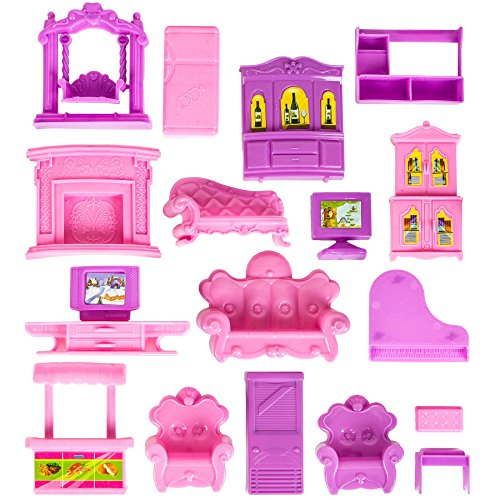 Kids Authority 25pc Complete Set of dollhouse Furniture, Princess Dollhouse Accessories (Packed in 3 Separate boxes)