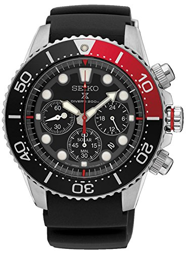 SEIKO Prospex Sea Diver's 200m Chronograph Solar Sports Watch Red SSC617P1 (Diver Chronograph Bracelet)