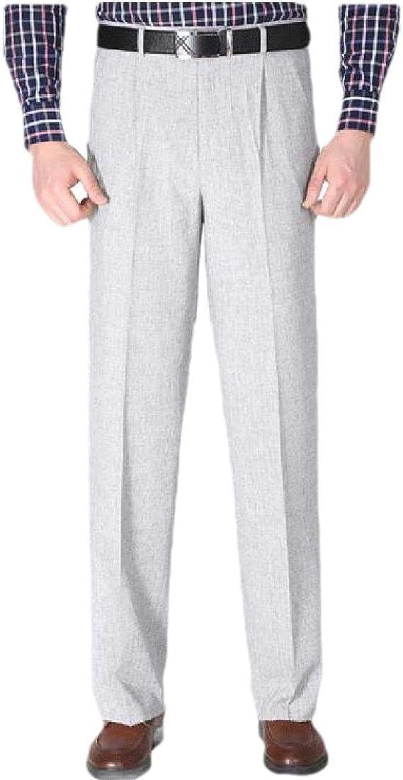 VITryst Men's Straight Leg High Waist Casual Leisure Business Plain Front Pant