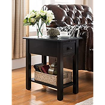 Great Sutton Side Table With Charging Station In Black