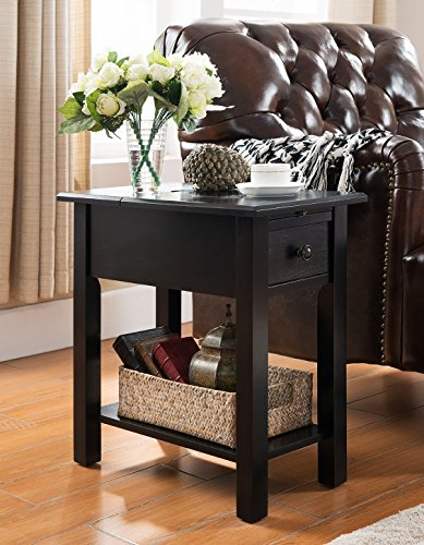 Sutton Side Table with Charging Station in Black by One Source Living