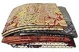 100% Pure Silk Saree Lot of 4 Vintage Fabric Used Crafted Wrap Dress Indian Wholesale Sari Multicolor Printed Decor