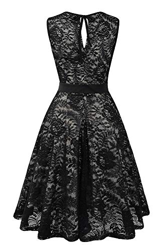1b69010ead BBX Lephsnt Women s Vintage Floral Lace Sleeveless Party Dress Cocktail  Formal Swing Dress