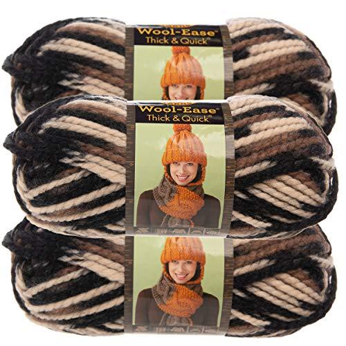 (Lion Brand Yarn (3 Pack Wool Ease Super Chunky Yarn for Knitting Crocheting Soft Desert Black Brown Tan Yarn Bulky #6)