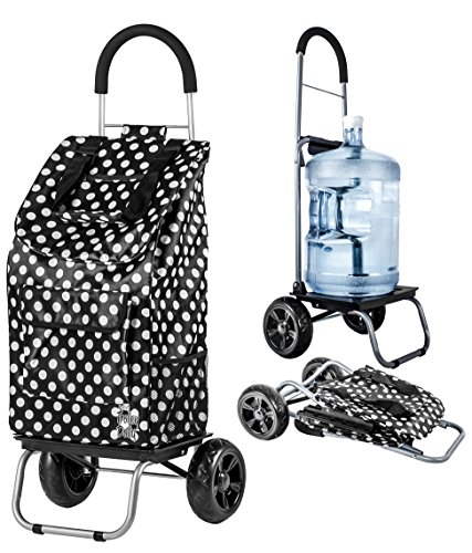 dbest products Trolley Dolly, Black Polka Dot Shopping Grocery Foldable Cart
