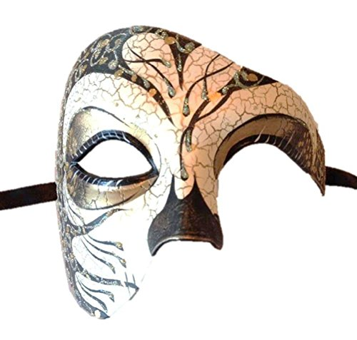 Venetian Costume Half Mask Antique Crackle Glittery Finish Men Opera