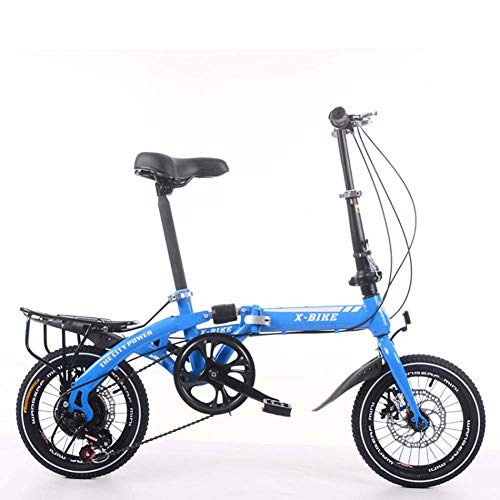 Adult Folding Bicycle Lightweight Unisex Men City Bike 16-inch Wheels Aluminium Frame Ladies Shopper Bike with Adjustable Handlebar & Seat,7 Speed,disc Brakes,Blue,14inches