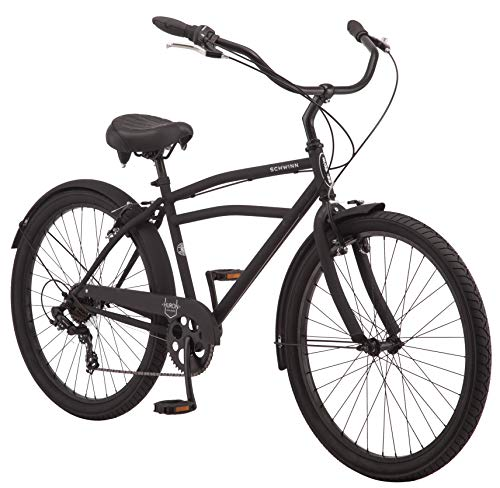 Schwinn Huron Men's Cruiser Bike, Featuring 17-Inch/Medium Steel Frame, Seven-Speed Drivetrain, Full Front and Rear Fenders, and 26-Inch Wheels, Black