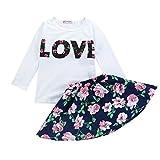 #2: DaySeventh Toddler Girls Cute Outfit Clothes Elephant Print T-Shirt Tops+Skirt 1Set