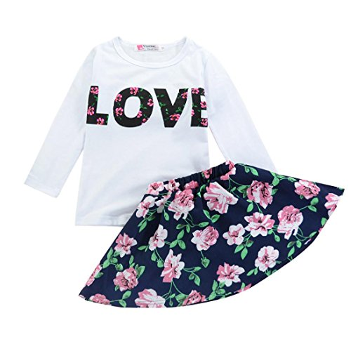 DaySeventh Toddler Girls Cute Outfit Clothes Elephant Print T-Shirt Tops+Skirt 1Set (6T, Navy)